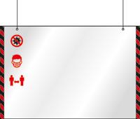 Подвесной защитный экран с боковой разметкой и инфографикой